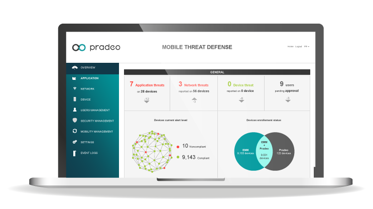 Pradeo Security Mobile Threat Defense online platform